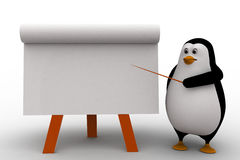 3d penguin teach on board with paper slide concept Royalty Free Stock Photography