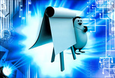 3d penguin teach on board with paper slide illustration Stock Photography
