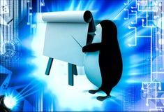 3d penguin teach on board with paper slide illustration Stock Image