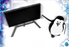 3d penguin teacher say to look on board illustration Royalty Free Stock Photo