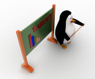 3d penguin teacher with stick and Target graph written on board concept Stock Photography