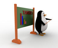 3d penguin teacher with stick and Target graph written on board concept Stock Image