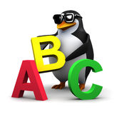 3d Penguin teaches the alphabet Stock Images