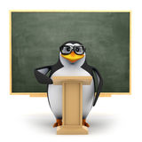 3d Penguin teaches the class vector illustration
