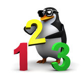3d Penguin teaches math Royalty Free Stock Images