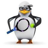 3d Penguin tennis student Stock Images