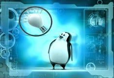 3d penguin think bulb illustration Royalty Free Stock Photo