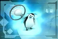 3d penguin think bulb illustration Stock Photo
