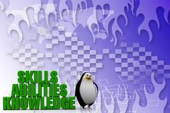 3d penguin with Three qualities or criteria that are essential for a job candidate Illustration Royalty Free Stock Image