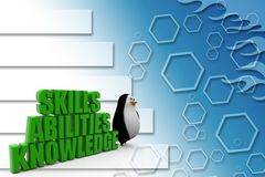 3d penguin with Three qualities or criteria that are essential for a job candidate Illustration Stock Photography