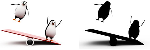 3d penguin thrown in air by seesaw concept collections with alpha and shadow channel Royalty Free Stock Photography