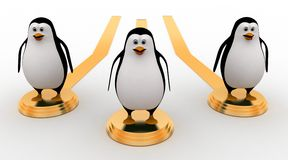 3d penguin thrown in air by seesaw concept Stock Image