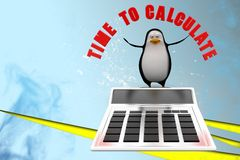 3d penguin with time to calculate illustration Royalty Free Stock Image