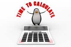 3d penguin with time to calculate illustration Stock Images