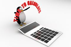 3d penguin with time to calculate illustration Stock Photo