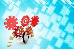 3d penguin with time to learn Illustration Stock Image