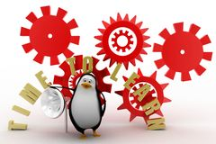 3d penguin with time to learn Royalty Free Stock Images