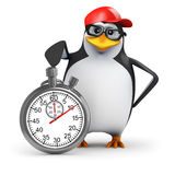 3d Penguin is timing you Royalty Free Stock Images