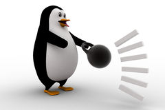 3d penguin about to catch heavy weight dumbell concept Royalty Free Stock Photography