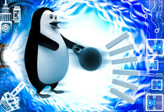 3d penguin about to catch heavy weight dumbell illustration Royalty Free Stock Images