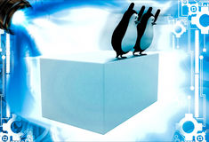 3d penguin about to jump into pool from height illustration Royalty Free Stock Photos