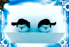 3d penguin about to jump into pool from height illustration Stock Images