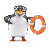 3d Penguin to the rescue Royalty Free Stock Images