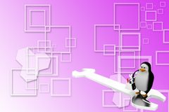 3d penguin with tools standing on spanner Illustration Royalty Free Stock Photos