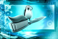3d penguin with toothbrush with paste concept Royalty Free Stock Photography