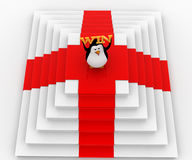 3d penguin on top with win concept Royalty Free Stock Image