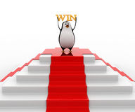 3d penguin on top with win concept Stock Photography