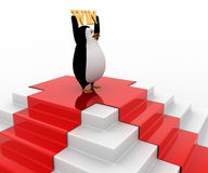 3d penguin on top with win concept Stock Photo