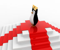 3d penguin on top with win concept Royalty Free Stock Photography
