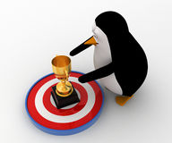 3d penguin about touch golden award cup on target concept Royalty Free Stock Images