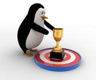 3d penguin about touch golden award cup on target concept Royalty Free Stock Photography