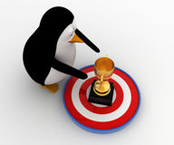 3d penguin about touch golden award cup on target concept Stock Photography