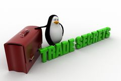 3d penguin with trade secret text Stock Photo