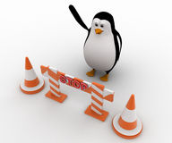 3d penguin with traffic cones and stop barrier concept Royalty Free Stock Photo