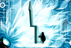 3d penguin trying to climb green arrow with ladder illustration Royalty Free Stock Photos
