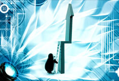 3d penguin trying to climb green arrow with ladder illustration Stock Photos