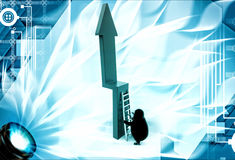 3d penguin trying to climb green arrow with ladder illustration Royalty Free Stock Photography