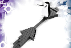 3d penguin on two arrows illustration Stock Images