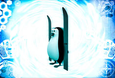3d penguin with two ski green board illustration Royalty Free Stock Images