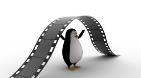3d penguin under big and long film reel concept Royalty Free Stock Images
