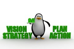 3d penguin with vision strategy   and plan action Royalty Free Stock Photo