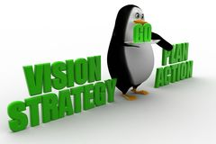3d penguin with vision strategy   and plan action Royalty Free Stock Photography