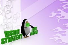 3d penguin with vision strategy  and plan action Illustration Royalty Free Stock Photography