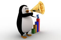 3d penguin visualizing bar graph with percentage symbol  on it Royalty Free Stock Images