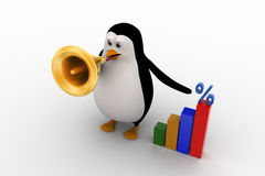 3d penguin visualizing bar graph with percentage symbol  on it Royalty Free Stock Photo