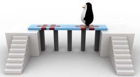 3d penguin walking on bridge of puzzle pieces concept Stock Photography